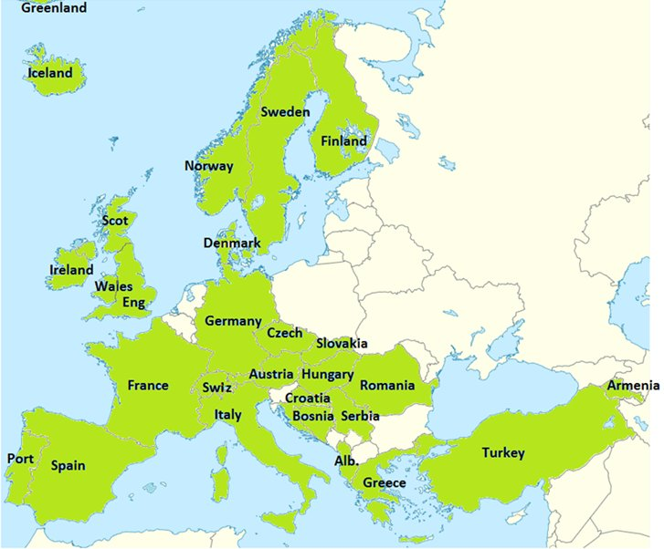 Kaart Europa Sistema deelnemende landen